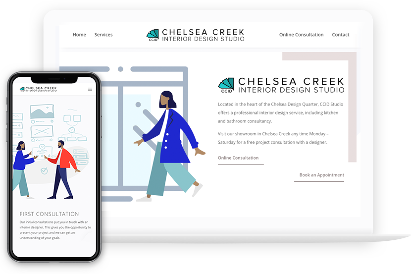 web design project chelsea creek interior design studio