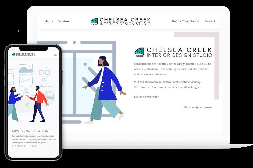 web design project chelsea creek interior design studio